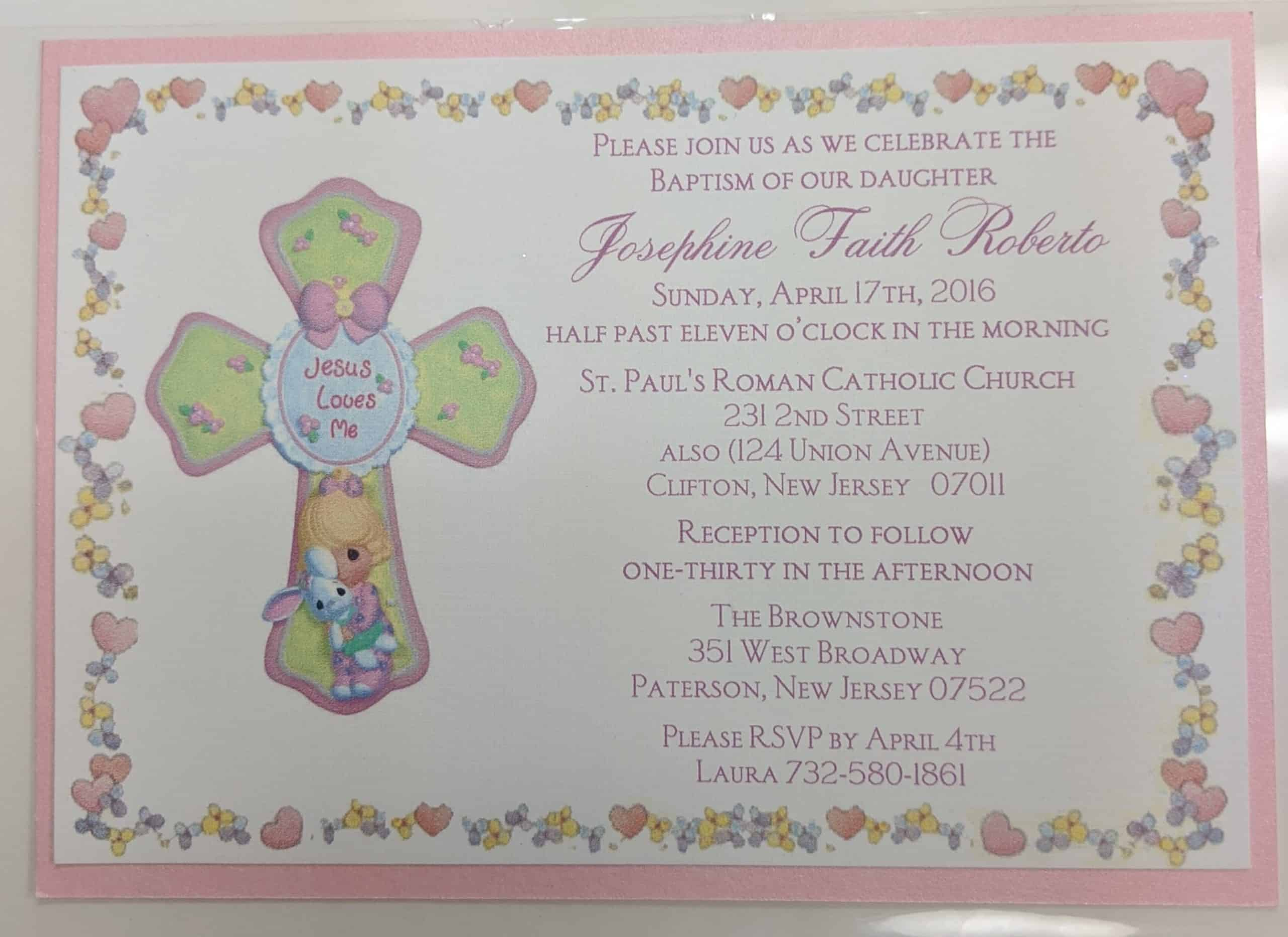 Baptism invitations in NJ
