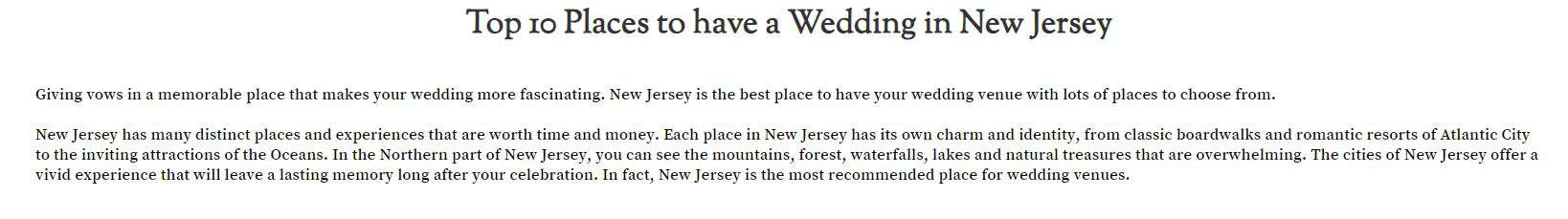 Top 10 Places to have a wedding in NJ