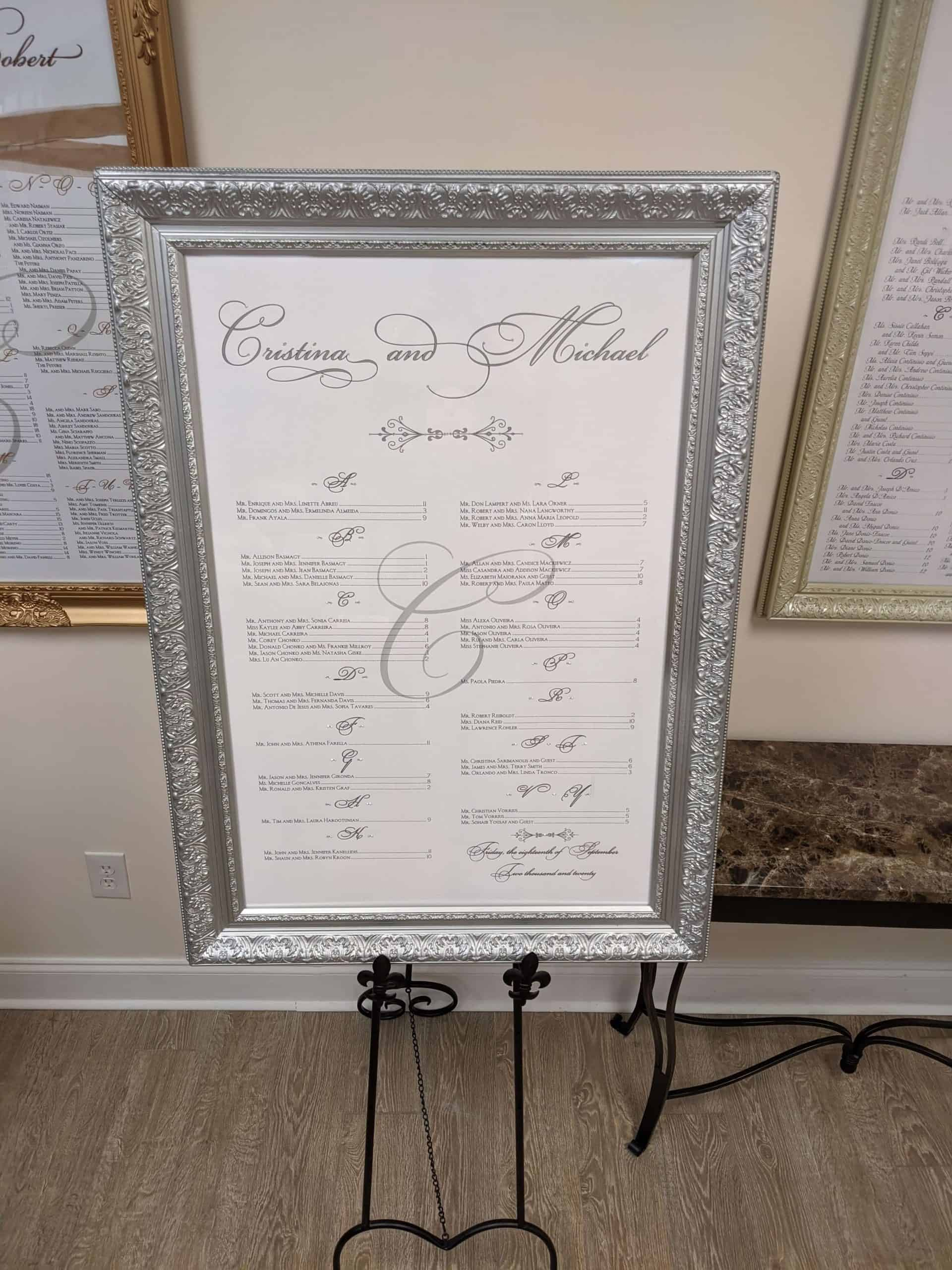 Silver Wedding Seating chart