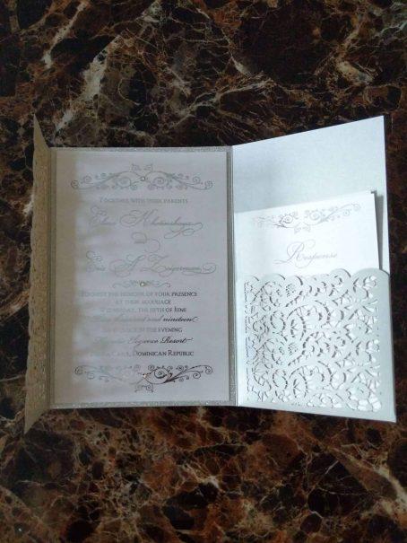 #4 laser cut and pocket wedding invitation