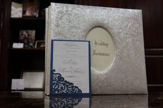 Blue Modern Wedding invitation Monmouth NJ